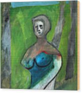 Topless Woman In A Park Wood Print