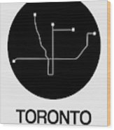 Toronto Black Subway Map Wood Print