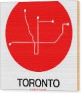 Toronto Red Subway Map Wood Print