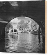 Tourboat On Amsterdam Canal Wood Print