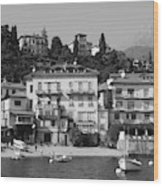 Town In The Shore Of Lake Como In Black And White Wood Print