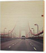 Traffic Crossing A Foggy Golden Gate Wood Print