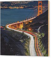 Traffic Racing Over The Golden Gate Bridge Wood Print