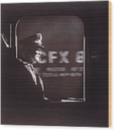 Train Conductor Looking Out Of Window Wood Print