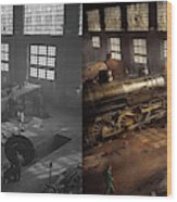 Train - Repair - Third Door On The Right 1942 - Side By Side Wood Print