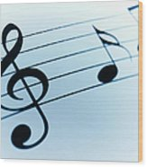 Treble Clef And Notes Wood Print