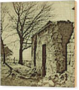 Tree And Ruins Wood Print