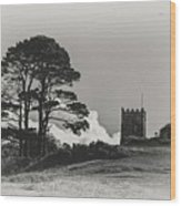 Tree And Tower Wood Print