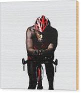 Triathlete Riding On Bicycle Wood Print