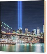 Tribute In Light From Brooklyn 1 Wood Print