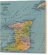 Trinidad & Tobago Map Wood Print