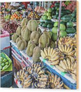 Tropical Fruit At A Street Market In Wood Print