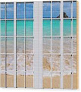 Tropical Paradise Beach Day Windows Wood Print