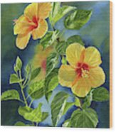 Tropical Yellow Orange Hibiscus With Background Wood Print