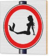 Trucker Mermaid Road Sign Wood Print