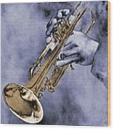 Trumpet Player Wood Print