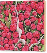 Tulips For Sale At A Flower Market Wood Print