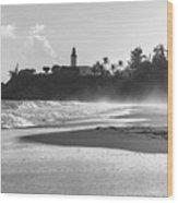 Tuna Punta Lighthouse Black And White Wood Print