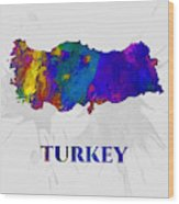 Turkey, Map, Artist Singh Wood Print