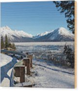 Turnagain Arm And Chugach Range From Sunrise Alaska Wood Print