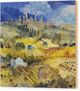 Tuscan Landscape - San Gimignano Wood Print