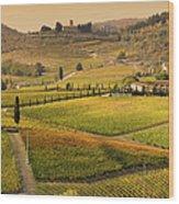 Tuscany Farmhouse And Vineyard In Fall Wood Print