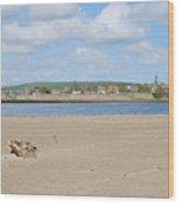 Tweed Estuary To Berwick-upon-tweed Medieval City Walls, Bridges Wood Print