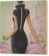 Twenty Pearls N Pink Roses Wood Print