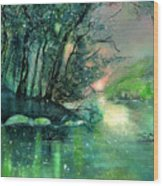 Twilight At The River Rhine Wood Print