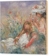 Two Children Seated Among Flowers, 1900 Wood Print