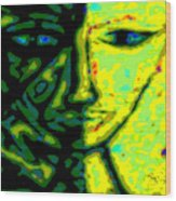 Two Faces - Green - Female Wood Print