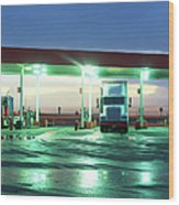 Two Semi Trucks Parked At Gas Station Wood Print