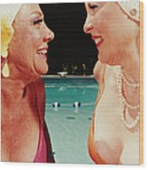 Two Women By Pool Wood Print