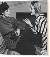 Two Women In Casual Conversation Wood Print