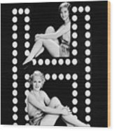 Two Young Women Posing With The Letter H Wood Print