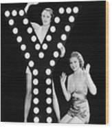 Two Young Women Posing With The Letter Y Wood Print
