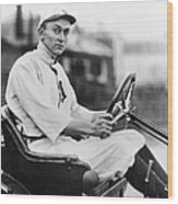 Ty Cobb Driving Car In Uniform Wood Print