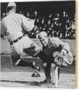 Ty Cobb Sliding Into Catcher Wood Print