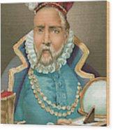 Tycho Brahe Illustration Wood Print
