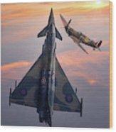 Typhoon And Spitfire Synchro-pair Display Team Wood Print