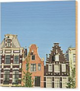 Typical Canal Houses, Amsterdam, The Wood Print