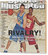 Ucla Kevin Love And Usc O.j. Mayo, 2007 College Basketball Sports Illustrated Cover Wood Print