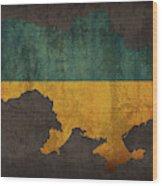 Ukraine Country Flag Map Wood Print