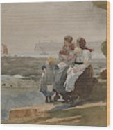 Under The Cliff, Cullercoats , 1881 Wood Print