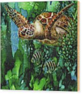 Underwater Mardi Gras Wood Print