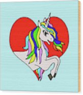 Unicorn In The Heart On Baby Blue Kids Room Decor Wood Print