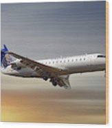 United Express Bombardier Crj-200lr Wood Print