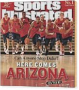 University Of Arizona Basketball Team Sports Illustrated Cover Wood Print