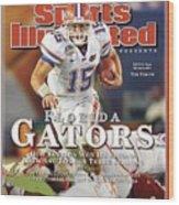 University Of Florida Florida Qb Tim Tebow, 2009 Fedex Bcs Sports Illustrated Cover Wood Print