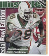 University Of Miami Clinton Portis, 2002 Rose Bowl Sports Illustrated Cover Wood Print